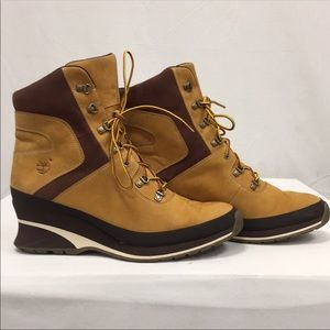 Timberland Boots Heel Tan Lace Up Classic 9